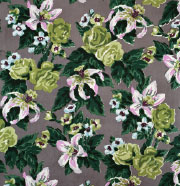Big Print #5 (Fazenda Lily - gray background - cotton fall 1947 design, Dorothy Draper, courtesy Schumacher & Co.)
