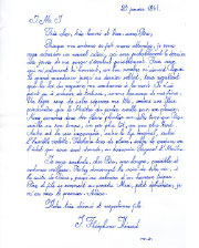 Last letter of Saint Théophane Vénard to his father before he was decapitated, copied by Phung Vo